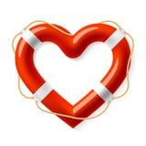 Boya de vida en la forma del corazón Foto de archivo libre de regalías