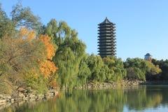 Boya Tower in Peking University. The Boya Tower and Weiming Lake in Peking University Royalty Free Stock Photo