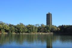 Boya Tower in Peking University. The Boya Tower and Weiming Lake in Peking University Stock Image