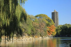 Boya Tower. Weiming Lake,The Unnamed Lake Stock Photography