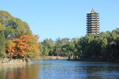 Boya Tower. Weiming Lake,The Unnamed Lake Stock Image