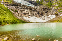 Boyabreen Glacier and lake in Norway Stock Photography