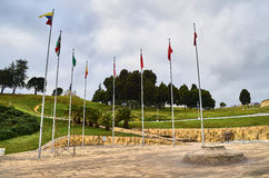 Boyaca Field. BOYACA, COLOMBIA - JANUARY 23, 2014: A view of the Boyaca Field  with the monument to Simon Bolivar far away in the background Royalty Free Stock Photos