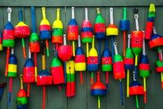 Boyas coloridas de la langosta Foto de archivo libre de regalías