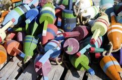 Boyas coloridas de la langosta de Maine imágenes de archivo libres de regalías
