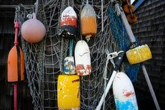 Boyas de la langosta en Rockport mA Fotos de archivo libres de regalías