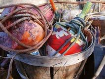 Boyas del pote de cangrejo en celemín Fotografía de archivo libre de regalías