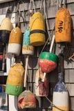 Boyas en una cabaña de la pesca de Cape Cod foto de archivo libre de regalías