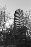 Boyata tower of peking university in winter, black and white image Royalty Free Stock Image
