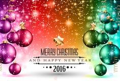 2016 bożych narodzeń i Szczęśliwej nowego roku przyjęcia ulotka Fotografia Stock