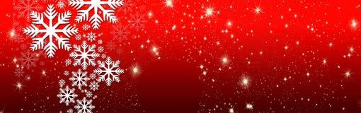 Bożych Narodzeń życzenia, łęk z gwiazdami i śnieg, tło Obrazy Stock