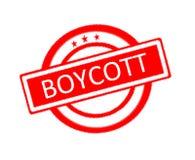 boycott écrit sur le tampon en caoutchouc rouge illustration libre de droits