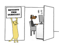 Boycott Cubicle. Business cartoon showing one worker encouraging others to `boycott this cubicle Stock Image
