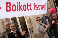 `Boycott Israel` banner at protest demonstration Royalty Free Stock Photography