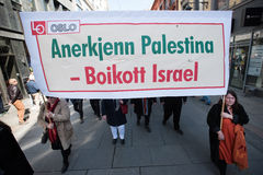 `Boycott Israel` banner at protest demonstration Stock Photography