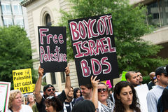 'Boycott Israel BDS' and 'Free Palestine' protest signs Royalty Free Stock Photo