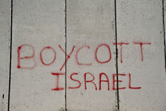 'Boycott Israel' graffiti on Israeli separation wall Royalty Free Stock Photos