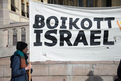 'Boycott Israel' protest banner Stock Photo