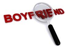 Boyfriend. 3d boyfriend text with magnifier on white background Stock Photo
