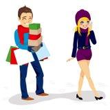 Boyfriend Carrying Shopping Bags Stock Photos