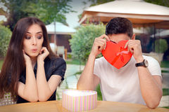 Boyfriend Embarrassed with his Valentine Gift Royalty Free Stock Image
