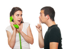 Boyfriend feeling disturbed. By the phone calls stock image