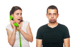 Boyfriend feeling disturbed. By the phone calls stock images