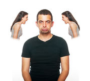 Boyfriend feeling disturbed Royalty Free Stock Images