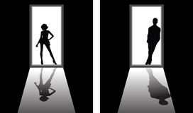 Boyfriend or girlfriend. Iillustrations of boyfriend or girlfriend, relationship concepts Royalty Free Stock Photo