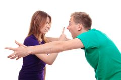 Boyfriend and girlfriend arguing Stock Images
