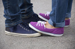 Boyfriend and girlfriend feet Royalty Free Stock Photos