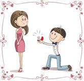 Boyfriend and Girlfriend Getting Engaged Cartoon Illustration Stock Images