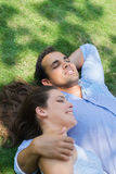 Boyfriend and girlfriend in love hugging Stock Photography