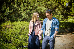 Boyfriend and girlfriend standing showing romantic love stock photo