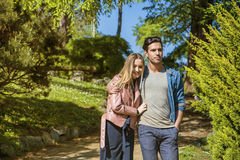 Boyfriend and girlfriend standing showing romantic love stock photography