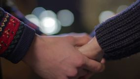 Boyfriend holding girlfriend's hands, young couple in love, romantic date. Stock footage stock video