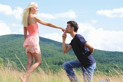 Boyfriend kiss girl hand Royalty Free Stock Images