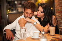 Boyfriend kiss hand of his girlfriend gently Stock Images