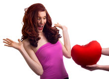 Boyfriend present surprice heart to woman Stock Images