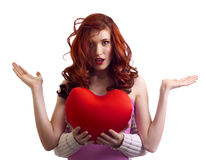 Boyfriend present surprice heart to woman Royalty Free Stock Photography