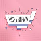 boyfriend Retro ontwerpelement in pop-artstijl op halftone col. vector illustratie