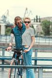 boyfriend with tattoos and stylish girlfriend royalty free stock photography