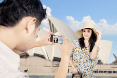 Boyfriend took picture of girlfriend in Sydney Stock Image