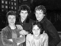 The Boyfriends. British power pop group, pose for a group photo in London on August 20, 1978. L-R Chris Skornia, Mark Henry, Patrick Collier, Steve Bray (front stock photography