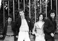 The Boyfriends. British power pop group, pose for a group photo in London on August 20, 1978. L-R Chris Skornia, Patrick Collier, Steve Bray, Mark Henry Royalty Free Stock Photos