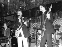 The Boyfriends. British power pop group The Boyfriends perform live on stage in London on August 20, 1978. L-R Chris Skornia, Patrick Collier, Mark Henry, Steve royalty free stock photography