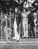 The Boyfriends. British power pop group, pose before a live performance in London, England on August 20, 1978. L-R Chris Skornia, Patrick Collier, Steve Bray stock photo