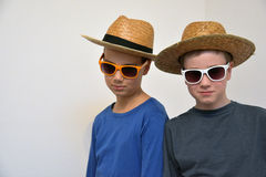 Boyfriends with hats and sunglasses. Two hip trendy boyfriends , wearing straw hat and  sunglasses Royalty Free Stock Photos