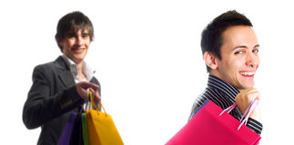 Boyfriends having fun at shopping Stock Photography