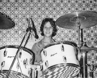 The Boyfriends. Steve Bray, drummer with British power pop band The Boyfriends, performs live on stage in London, England on August 20, 1978. They were signed to royalty free stock photos